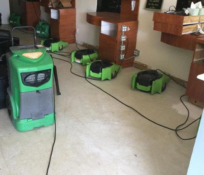 SERVPRO Professional air blowers drying water damaged business