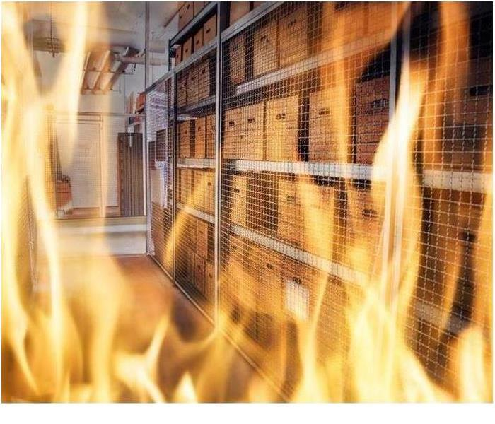 Image of files storage in flames at local business