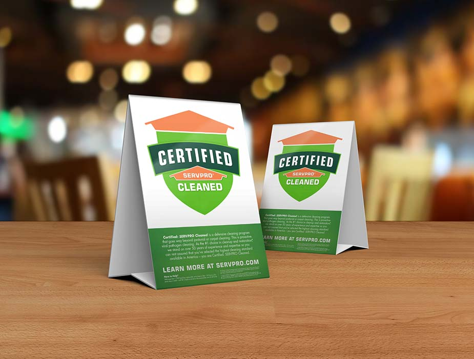 Certified: SERVPRO Cleaned Signage on Restaurant door